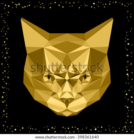 Abstract cat. Golden texture cat. Gold cat. Cartoon cat. Cat portrait. Polygonal cat. Cat for card, invitation, poster, banner, placard, note book, album, sketch book. Graphic cat. Cat. Isolated cat - stock vector