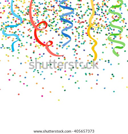 Abstract celebration background with falling confetti and ribbons