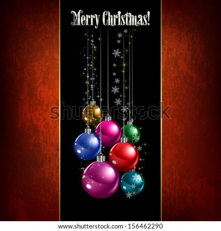 Abstract celebration greeting with Christmas decorations on black - stock vector