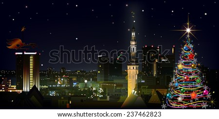 abstract celebration greeting with christmas tree and cityscape of Tallinn