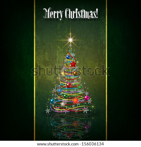 Abstract celebration greeting with Christmas tree on green - stock vector