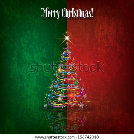 Abstract celebration grunge greeting with Christmas tree - stock vector