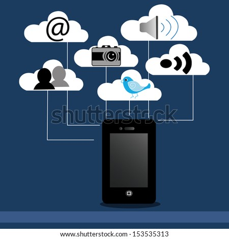 abstract cellphone on blue background with different social media icons
