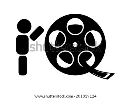abstract character rolling film reel - stock vector