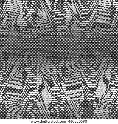 Abstract charcoal  flecked glitch geometric motif. Seamless pattern.