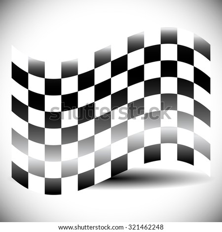 Abstract checkered flag on white with shadow. - stock vector