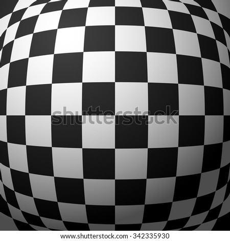 Abstract checkered pattern with bulging distortion. Vector art.
