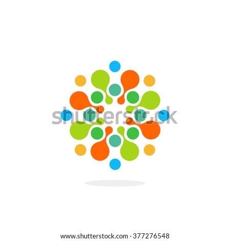Abstract chem symbol. Unusual medical logo. Water bio logotype. Circle colorful icon. Unusual vector illustration. Item, drops, dots elements design. - stock vector
