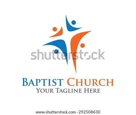 Abstract christian cross logo design vector template. Baptist cross symbol vector design template. - stock vector