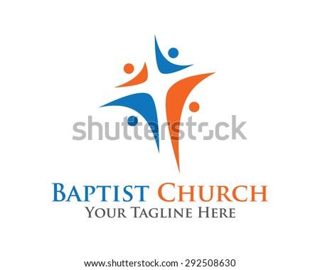Abstract christian cross logo design vector template. Baptist cross symbol vector design template.