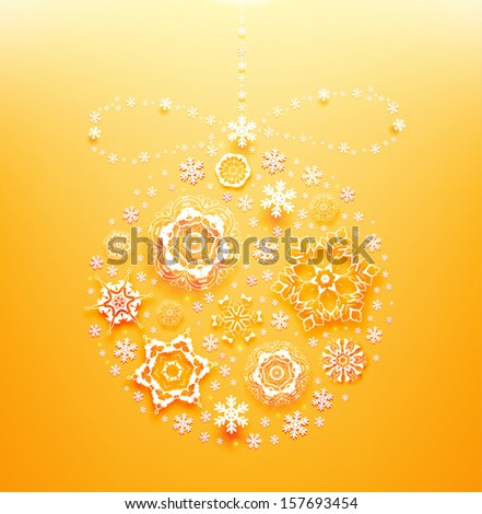 Abstract Christmas Background, Christmas bauble, vector. Orange version - stock vector