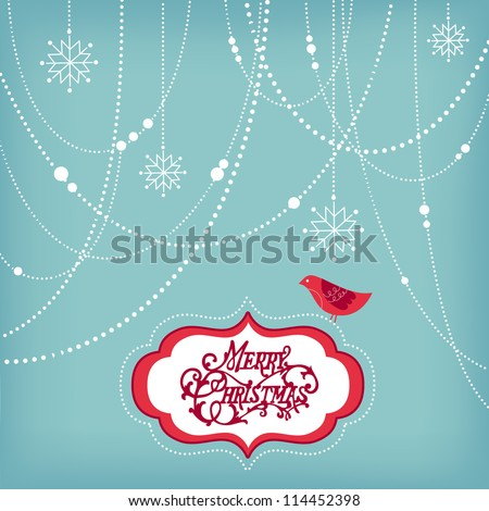 Abstract Christmas Background, christmas decorations, snowflakes and a bird
