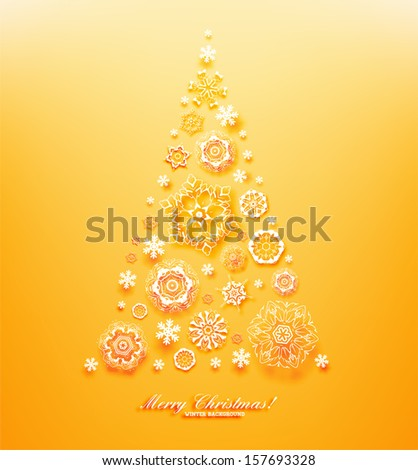 Abstract Christmas Background, Christmas tree, vector. Orange version - stock vector