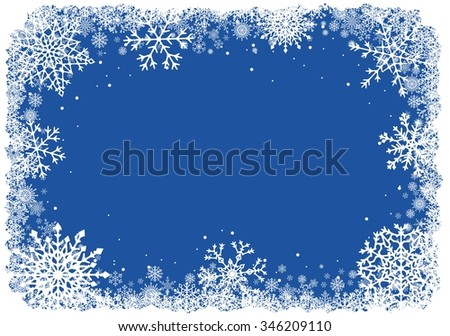 Abstract Christmas background. Winter frame with snowflakes over blue background. Vector illustration.