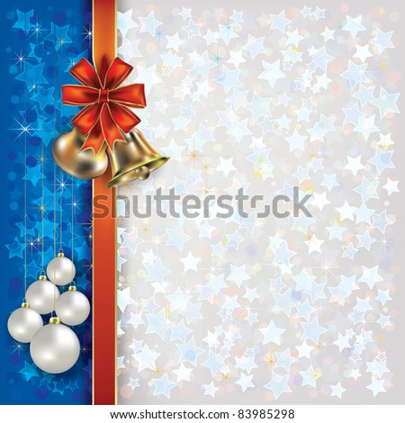 Abstract Christmas background with bells and red gift ribbons
