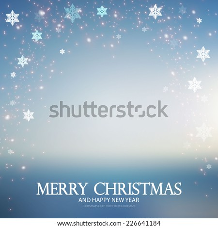 Abstract Christmas background with blur landscape & snow. Vector illustration  - stock vector