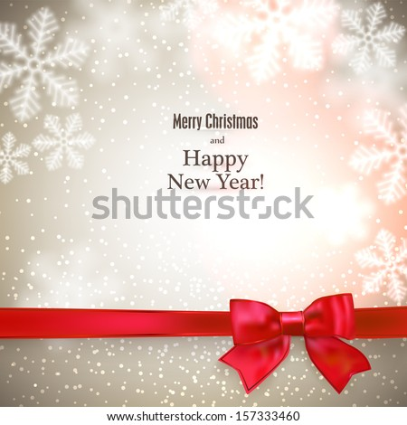 Abstract christmas background with blurred snowflakes and red gift ribbon. Vector illustration.  - stock vector
