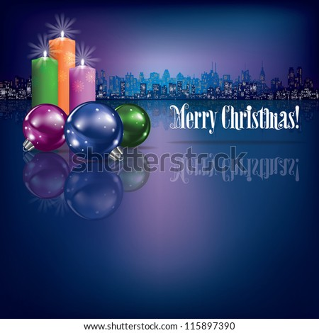 abstract Christmas background with candles and silhouette of city - stock vector