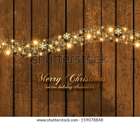 Abstract Christmas Background with Golden Snowflakes, Vintage wooden background, holiday vector - stock vector