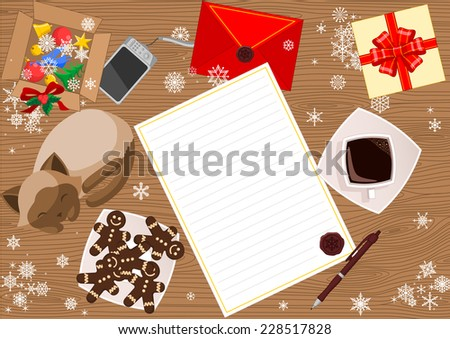 Abstract Christmas background with letter to Santa Claus and red envelope, gift, sleeping cat, biscuits on the plate and a box with decoration for New Year tree on the wooden table. - stock vector