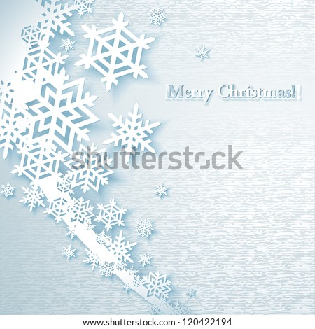 Abstract Christmas Background with paper snowflakes - stock vector