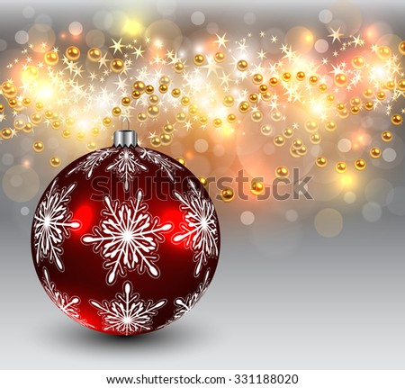 Abstract Christmas background with red balls and snowflakes, elegant vector illustration. - stock vector