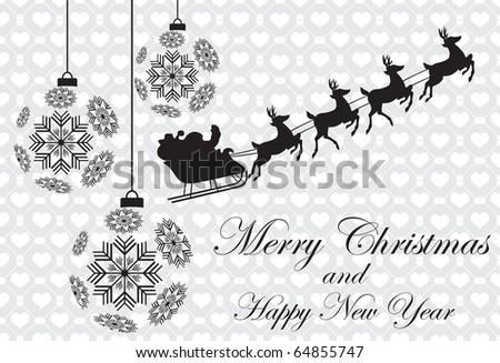 Abstract christmas background with Santa & christmas balls - stock vector