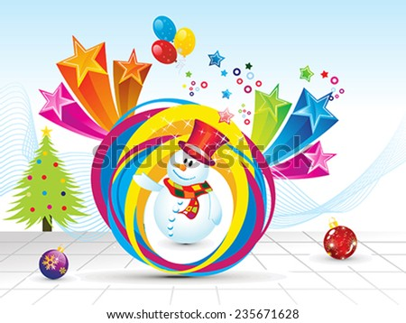 abstract christmas background with snow man vector illustration - stock vector