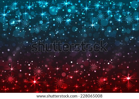 Abstract Christmas background with snowflakes and shiny stars, blue, red color. New year lights, starry sky  - stock vector