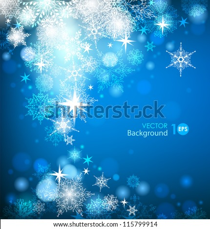 Abstract Christmas background with snowflakes. Vector eps 10. - stock vector
