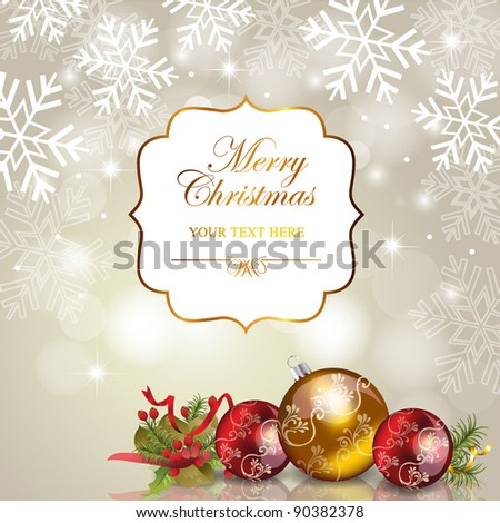 Abstract christmas background with vintage frame & ornaments - stock vector