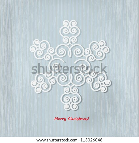 Abstract Christmas background with white paper snowflake. - stock vector