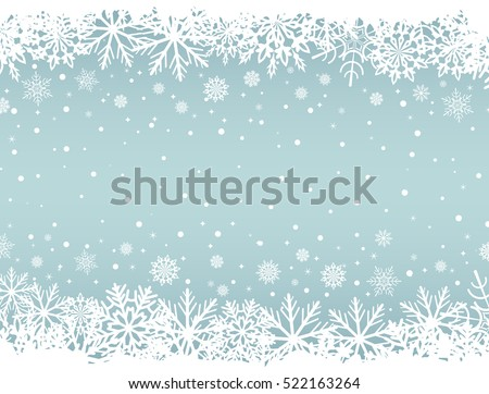 Abstract Christmas background with white snowflake borders and copy space in the center. Vector illustration.