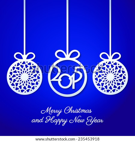 Abstract Christmas ball cutted from paper on blue background. Christmas and New Year greeting card in minimalistic style. New year lettering. Banner. Invitation design. Vector eps10 illustration - stock vector