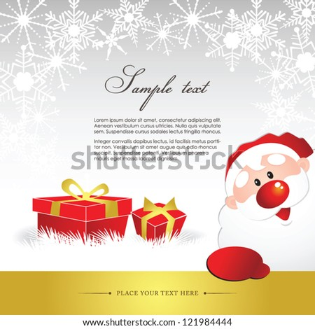 Abstract christmas banner with Santa Claus on background with snowflakes - stock vector