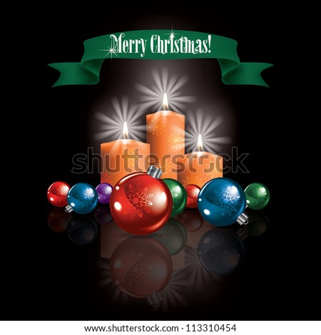 Abstract Christmas black greeting with decorations and candles - stock vector