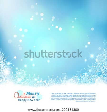 Abstract Christmas bokeh background. Xmas winter art design with snowflakes frame - stock vector