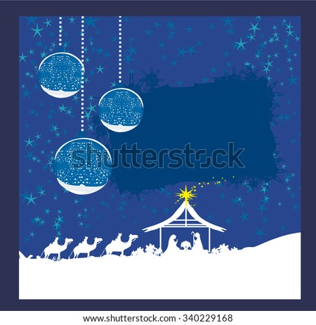 abstract Christmas card - birth of Jesus in Bethlehem.  - stock vector