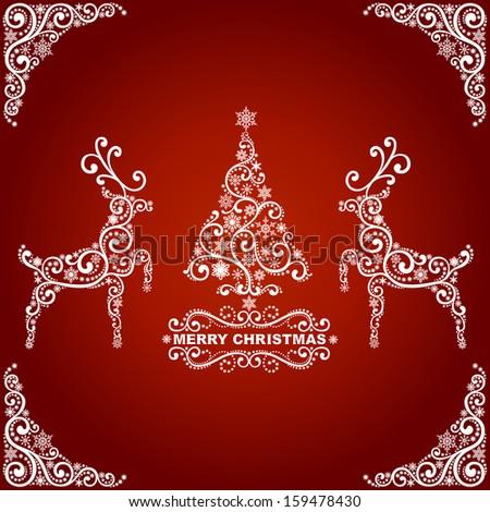 Abstract christmas card, christmas tree and deers - stock vector