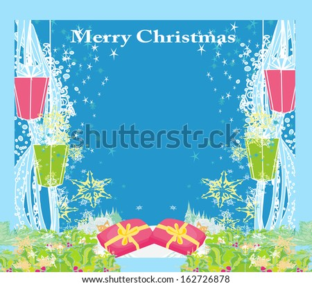 Abstract Christmas card ,star, gifts, snow - stock vector