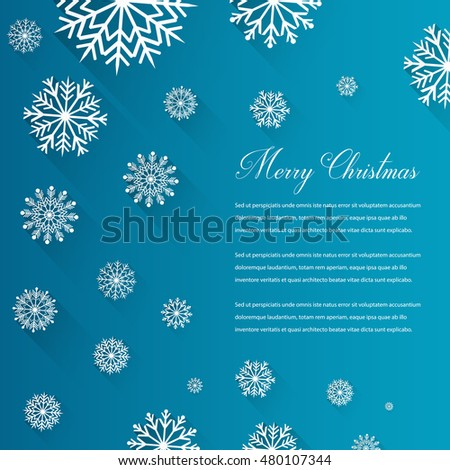 Abstract Christmas card with snowflakes and wishing text. Vector illustration
