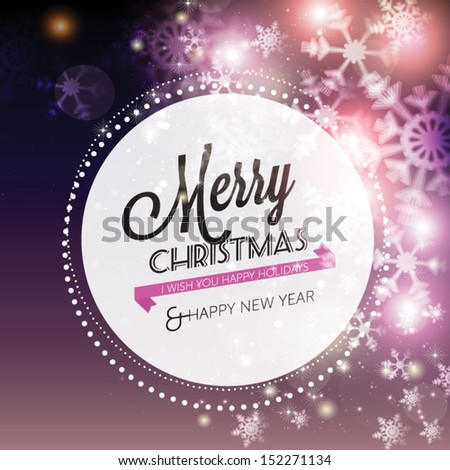 Abstract Christmas card with snowflakes background. Vector Illustration. - stock vector