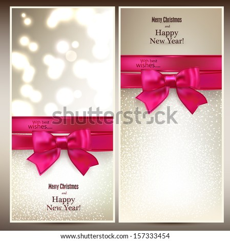 Abstract christmas cards with magenta gift bow and ribbon. Vector illustration.  - stock vector