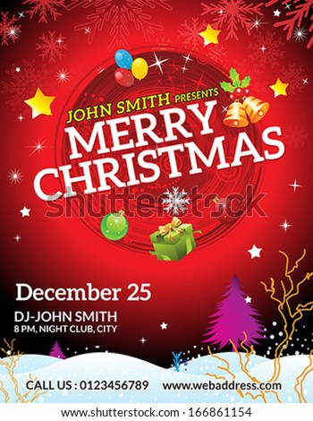 abstract christmas flyer template vector illustration  - stock vector