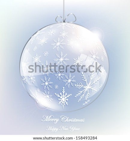 Abstract christmas glass ball with snowflakes. Vector eps10. - stock vector