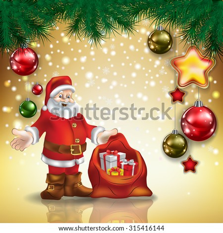 Abstract Christmas golden greeting with Santa Claus and decorations - stock vector