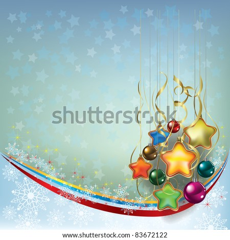 Abstract Christmas greeting with decoration on blue grey
