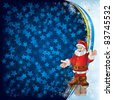 Abstract Christmas greeting with Santa Claus on blue - stock photo