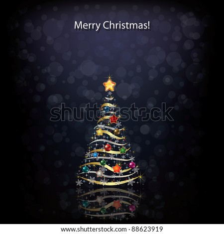 Abstract Christmas greeting with tree on black - stock vector