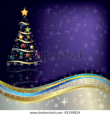 Abstract Christmas greeting with tree on purple - stock vector